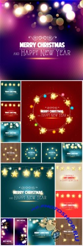 Christmas vector backgrounds with bright stars
