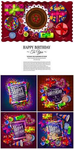 Birthday card with gift boxes, cocktails, lollipops, party hat, frames and confetti