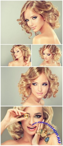 Pretty blonde girl with hairstyle curled hair