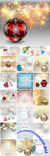 Merry Christmas, New Year vector, backgrounds, tree, garland, winter