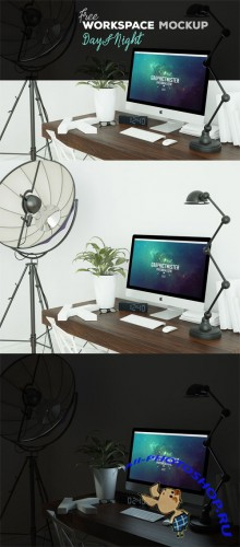 Day & Night - iMac Workspace Mockup Template
