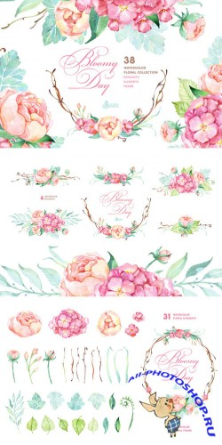 Bloomy Day. Floral Collection - Creativemarket 277112