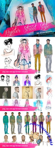 Creativemarket - Hipster Street Style Illustrations 130036