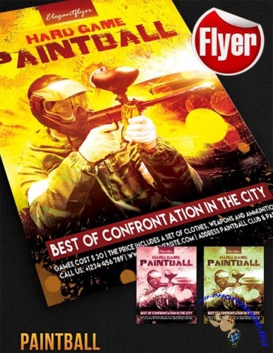 Paintball Flyer Template + Facebook Cover
