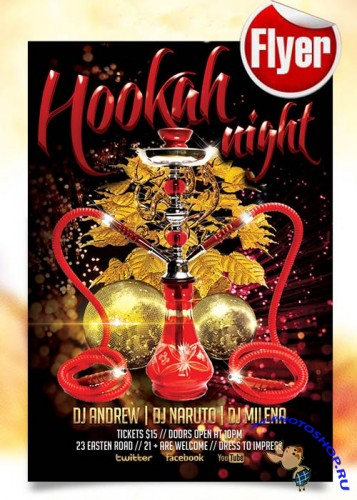 Hookah Night Flyer Template + Facebook Cover