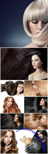 Girls with luxurious long hair - Stock photo