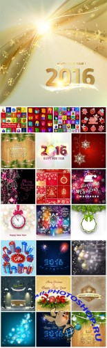 2016 Merry Christmas, New Year, holiday, backgrounds vector #2