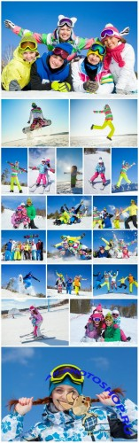Winter holidays, skiing - Stock photo