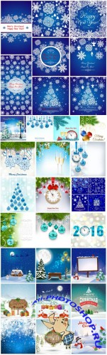 2016 Merry Christmas, New Year, holiday backgrounds vector