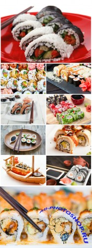Sushi sets, oriental food - Stock photo