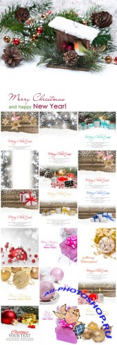 2016 Merry Christmas, new year, winter backgrounds - Stock photo