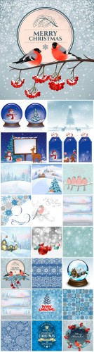 2016 Merry Christmas, new year, winter landscape, vector backgrounds