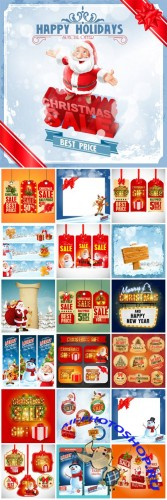Christmas 2016, vector label background with Santa
