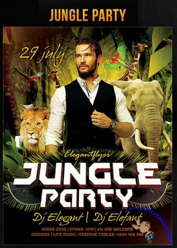 Jungle Party Flyer Template + Facebook Cover