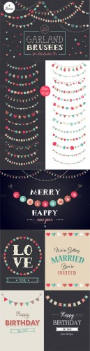 Holidays Garland Brushes set + bonus - Creativemarket 87839