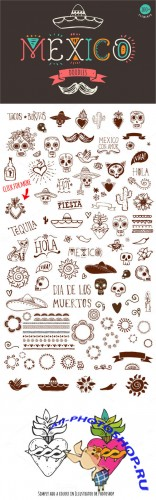 Creativemarket - Mexican Hand Drawn Doodles Set 334017