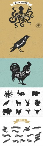 Creativemarket - Vintage hand drawn animals set 285557