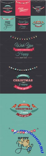 Creativemarket - 6 Vintage Christmas cards 90602
