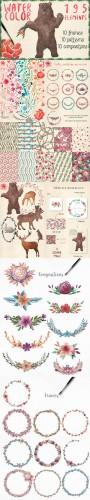 Watercolor frames, patterns, animals - Creativemarket 161500