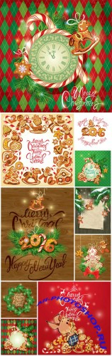 New year holiday greeting card with christmas gingerbread