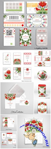 Set of loyalty cards, business cards, floral ukrainian pattern