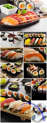 Sushi sets, rolls, sauce, wasabi - Stock photo