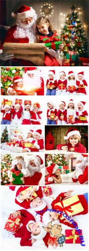 Children and Santa Claus, Christmas - stock photos