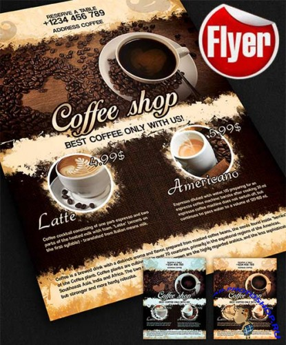 Coffee Shop Design V02 Flyer Template + Facebook Cover