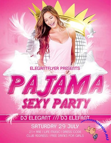 Pajama Sexy Party Flyer Template + Facebook Cover