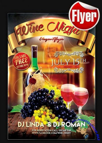 Wine Night Flyer Template + Facebook Cover
