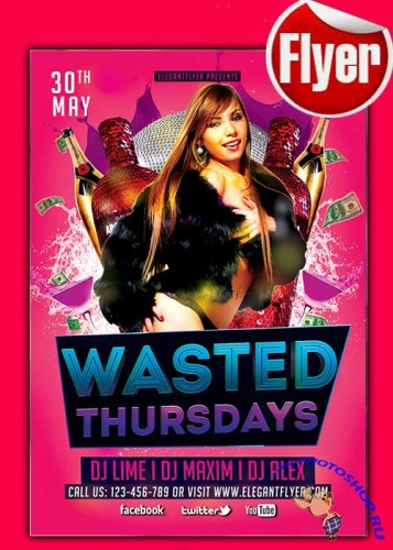 Wasted Thursdays Flyer Template + Facebook Cover
