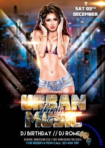 Urban Music Party Flyer Template + Facebook Cover
