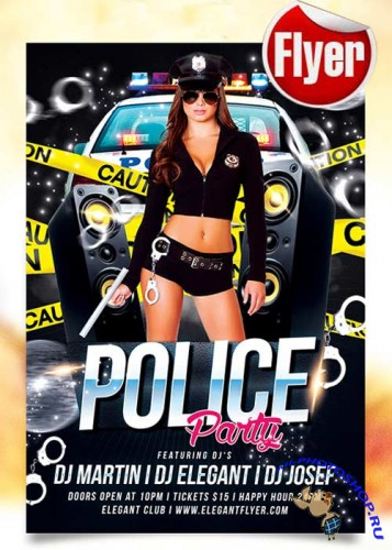 Police Party Flyer  Template + Facebook Cover
