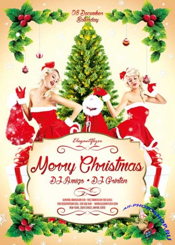 Merry Christmas 3 Flyer Template + Facebook Cover