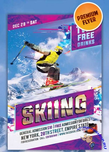 Skiing flyer Template