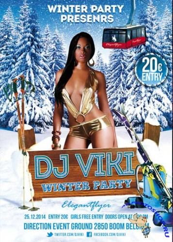 Dj Viki Winter Party flyer Template