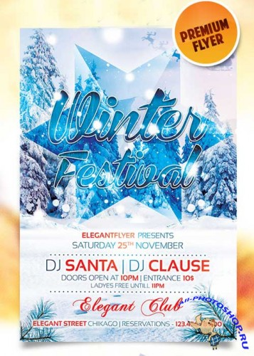 Winter Festival Flyer Template + Facebook Cover
