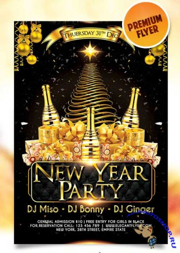 New Year Party Flyer Template + Facebook Cover