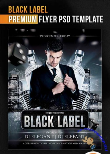 Black Label Flyer Template + Facebook Cover