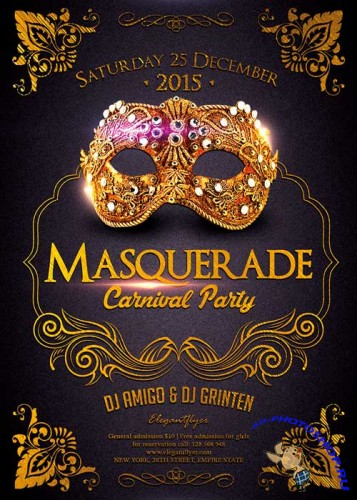 Masquerade Carnival Party Flyer Template + Facebook Cover