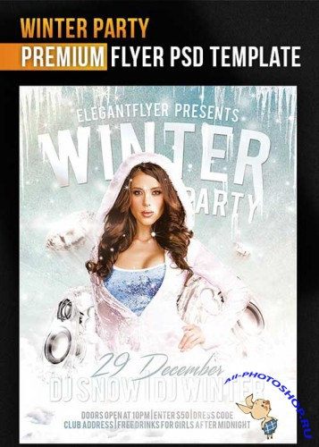 Winter Party Flyer Template + Facebook Cover