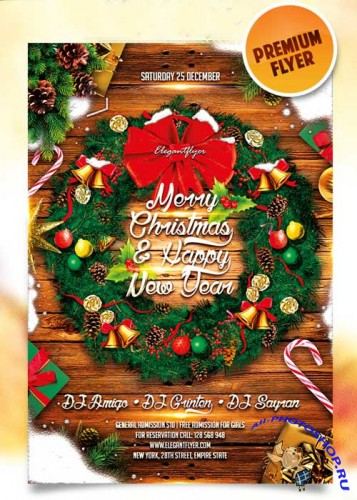 Merry Christmas and Happy New Year Flyer Template + Facebook Cover