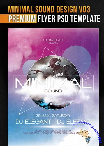 Minimal Sound Design V03 Flyer Template + Facebook Cover