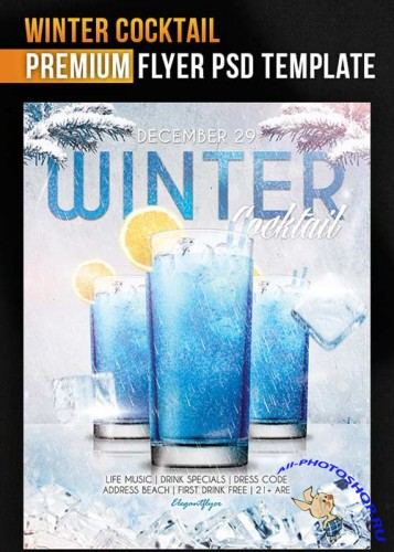 Winter Cocktail Flyer Template + Facebook Cover