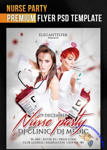 Nurse Party Flyer Template + Facebook Cover