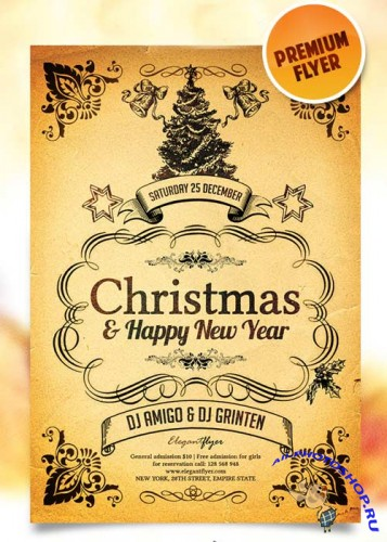 Merry Christmas & Happy New Year Flyer Template + Facebook Cover
