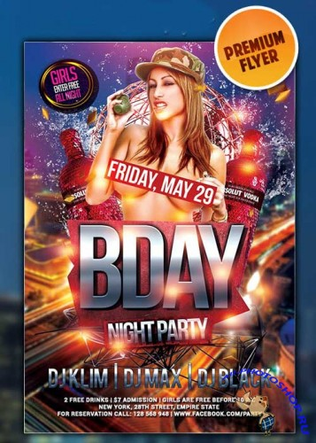 Bday Bash flyer Template + Facebook Cover