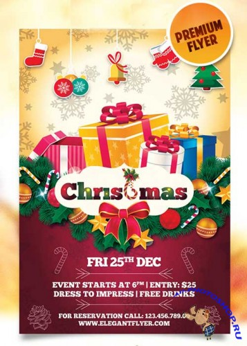 Happy Merry Christmas Flyer Template + Facebook Cover