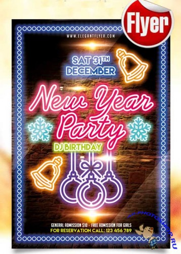 New Year Party Flyer Template + Facebook Cover V3