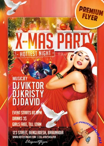 Hottest X-Mas Party flyer Template